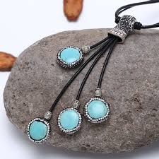 leather necklace turquoise stone images Aobei pearl unique design handmade crystal pearl necklace on jpg
