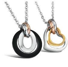stainless steel necklace pendants images 56 couple necklace set wholesale gemstone puzzle couple necklace jpg