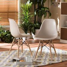 Dining Chairs Baxton Studio Azzo Beige Plastic Dining Chairs Set Of 2 2pc 5309