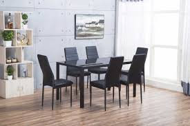 more views roma rectangle black glass dining table and 6 chairs set