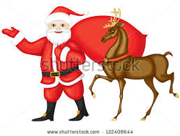 santa claus rudolph run santa stock vector 122408644