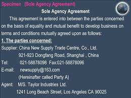 business agency agreement sales agency agreement sample agency