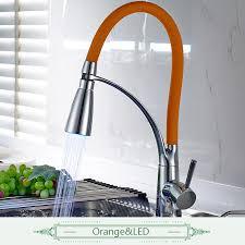led kitchen faucet black or orange led kitchen faucet rotate 360 degrees orange