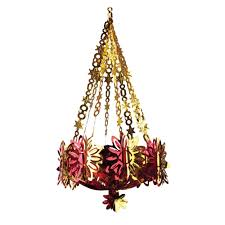 red u0026 gold foil christmas chandelier 91cm peeks