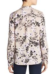 ivanka blouse lyst ivanka floral print roll tab sleeve blouse in purple