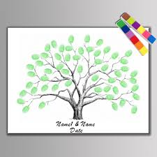 aliexpress com buy canvas wedding tree fingerprint guest
