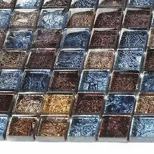 glossy glass tile backsplash ideas bathroom mosaic sheets brown