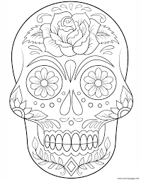 sugar skull with flowers calavera coloring pages printable