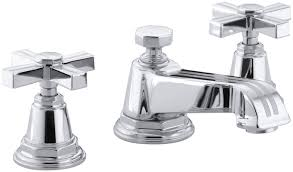 Widespread Bathroom Sink Faucet Kohler Pinstripe Widespread Bathroom Sink Faucet With Cross