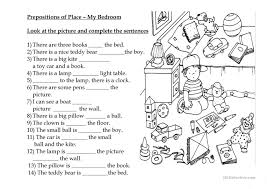 prepositions of place my bedroom worksheet free esl printable