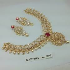 small stone necklace images Zircon single ruby stone pearl drops bridal necklace set online jpg