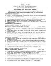 Pharmaceutical Regulatory Affairs Resume Sample by 6 3 2016 Regulatory Affairs Entry Level Resume Bum Kim