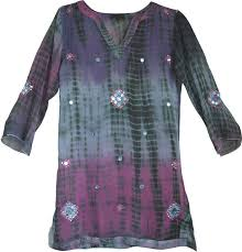 indian tunic shirt tie dye with embroidery sale on bags skirts