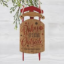 personalized vintage sled ornament baby it s cold outside