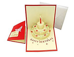 happy birthday cake pop up greeting card office