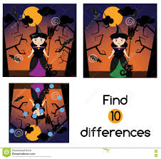find differences for children halloween characters witch stock