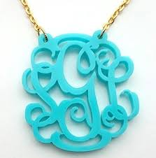 monogram acrylic necklace monogram acrylic necklace with vine or circle font with gift box