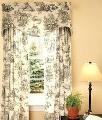 Toile Cafe Curtains Toile Cafe Curtains Added Linen Cafe Curtain With Pom Pom Trim To