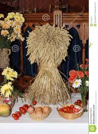 harvest decorations sheaf of corn church harvest decorations stock photo image