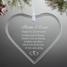 anniversary ornament personalized anniversary glass heart ornament