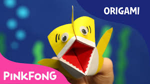 how to make an origami baby shark puppet animal song with