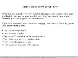 supply chain trainee cover letter