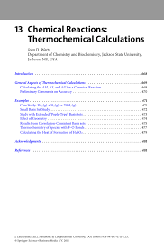 Chemical Reactions Thermochemical Calculations Springer