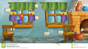 Kitchen Background Cartoon Background For Fairy Tale Kitchen Stock Illustration