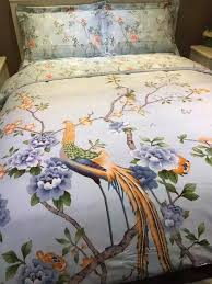 French Bed Linen Online - peacock print bedding set king size floral sheets duvet cover bed