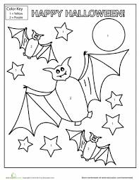 halloween color by number halloween bats color by numbers and