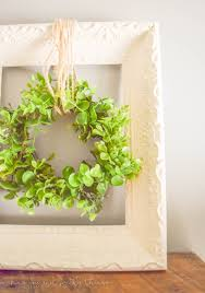 simple farmhouse decor upcycled frame and wreath