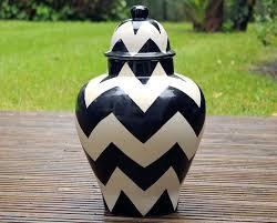 ceramic ginger jar lidded urn black