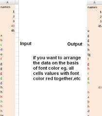 excel vba codes u0026 macros sort data on the basis of font color