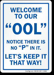 funny welcome welcome to our ool no p funny pool sign sku s 5608