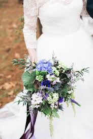 Purple And Blue Flowers Purple And Ivory Wedding In The Woods Ruffled