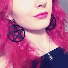 earrings and things big black pentagram hanging earrings big black pentacle and big