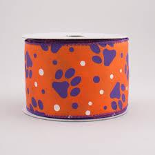 paw print ribbon 2 5 paw print polka dot ribbon purple orange 10 yards