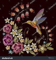 Beautiful Flowers Humming Bird Beautiful Flowers Embroidery On Stock Vector