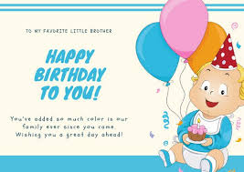 blue baby illustration brother birthday card templates by canva