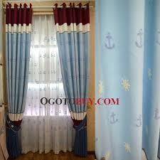 blue top grade linen cotton blackout nautical pattern curtain for