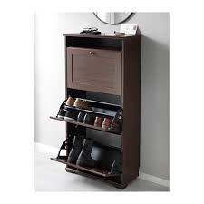 brusali shoe cabinet with 3 compartments brown ikea