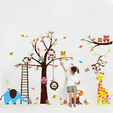 stickers animaux chambre bébé grand arbre animaux stickers muraux pour enfants décoration de la