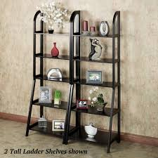 double black wooden standing ladder bookshelves with five row