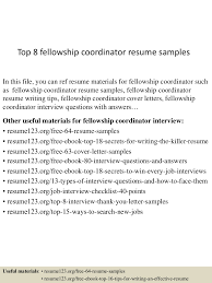 fellowship cover letter sample top8fellowshipcoordinatorresumesamples 150612171125 lva1 app6891 thumbnail 4 jpg cb u003d1434129132