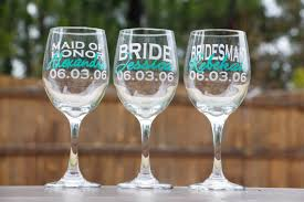 personalized glasses wedding bridal party wine glasses bridesmaid gifts wedding party gifts