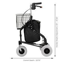 senior walkers with wheels traveler 3 wheeled rollator walker black health