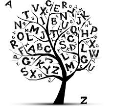 tree with letters of alphabetfor your design stock vector
