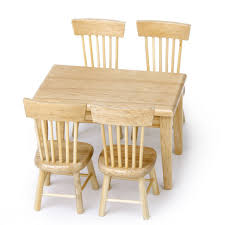 Dollhouse Dining Room Furniture by Amazon Com Lowpricenice 5pcs Wooden Dining Table Chair Model Set