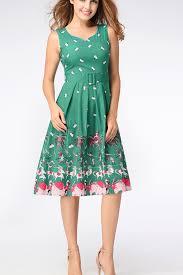 dress design umbrella forest green scoop neckline sleeveless tent shape round dress