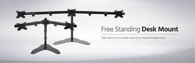 triple monitor free standing desk mount 15 30 in monoprice com